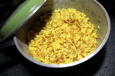 Armenian Shish Kabob with Yellow Rice Pilaf (with Egg Noodles)