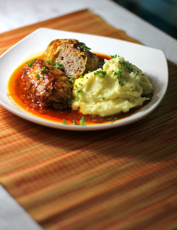 Cabbage Rolls in Paprika Tomato Sauce with Creamy Garlic Mashed Potatoes