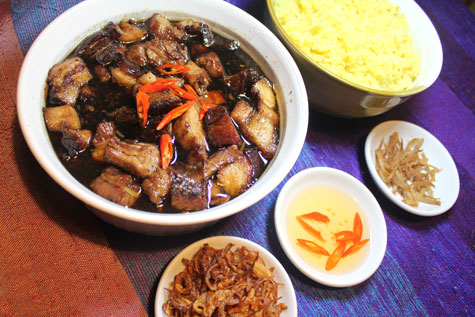 Caramelized Pork Belly with Chili Vinegar and Saffron Rice