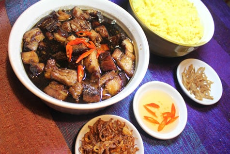 Caramelized Pork Belly with Chili Vinegar and Saffron Rice‏