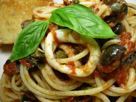 Calamari Pasta Puttanesca