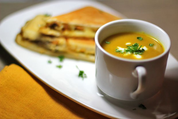 Curried Roasted Squash Soup with Caramelized Onions, Shiitake and Hummus Panini