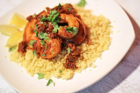 Creole Shrimp over Couscous‏a‏