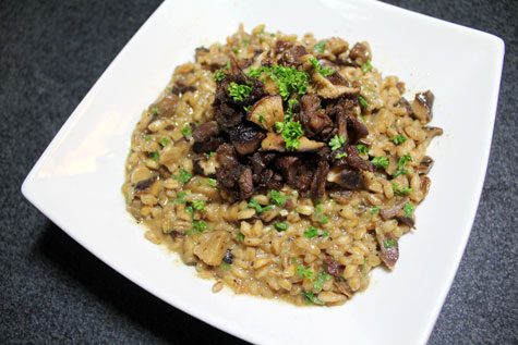 Crispy Shredded Lamb and Mushroom Farrotto‏ (Farro Risotto)