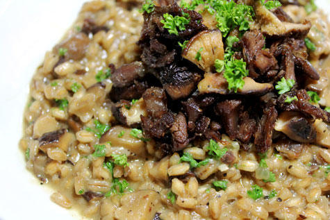 Crispy Shredded Lamb and Mushroom Farrotto (Farro Risotto)