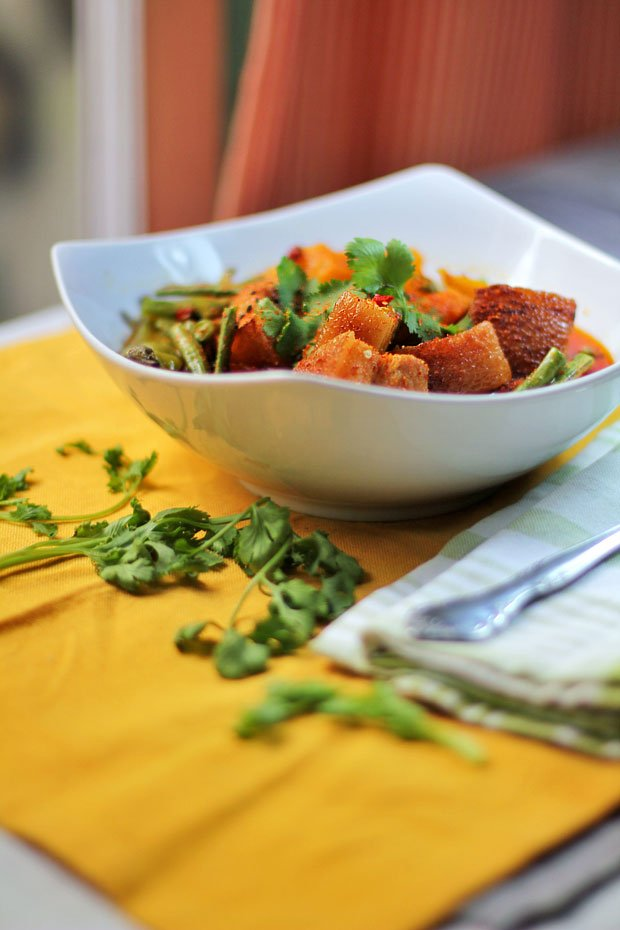 Dhungar-Smoked Pork Belly Curry with Squash and String Beans