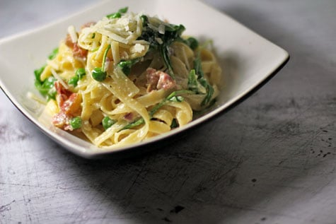 Fettucine with Parma Ham, Peas and Arugula in a Cream Sauce‏