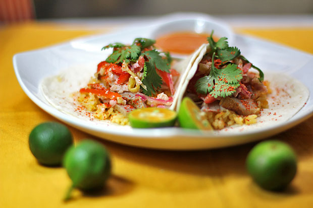 Dhungar-Smoked Pork Belly Tacos with Green Mango Relish and Salted Duck Egg Dressing‏