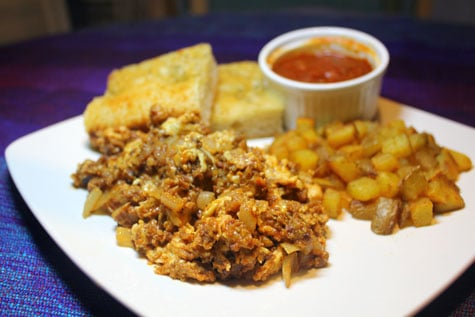 Longganisa ala Spanish Chorizo with Scrambled Eggs, Country Fries and Homemade Focaccia‏