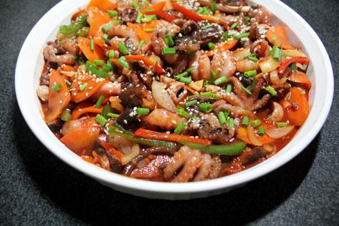 Nakji Bokkeum (Korean Spicy Stir-Fried Octopus)