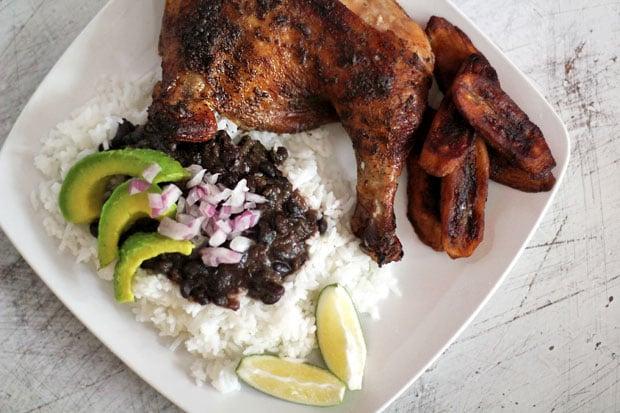 Pollo Asado al Ajillo con Frijoles Negros y Platanos Maduros (Garlic Roasted Chicken with Black Beans and Sweet Fried Plantains)