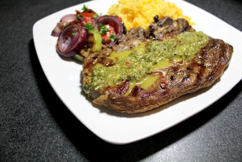 Peruvian-Inspired Grilled Lamb with Yellow Rice and Salsa Verde