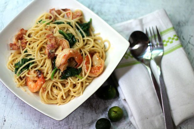 Pasta with Shrimp, Bacon and Spinach in a Gorgonzola Cream Sauce‏‏‏