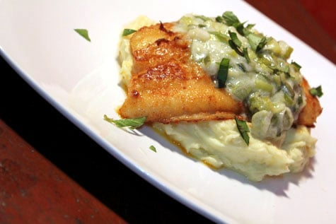 Pan Seared Cream Dory with Creamed Leeks and Truffled Mashed Potatoes‏
