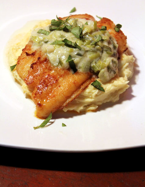... Seared Cream Dory with Creamed Leeks and Truffled Mashed Potatoes