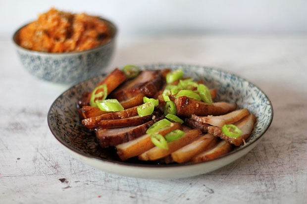 Smoked Chinese-Style Roast Pork with Kimchi Fried Rice