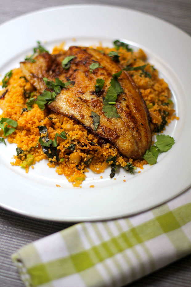 Spicy Fish with Caramelized Onions and Couscous