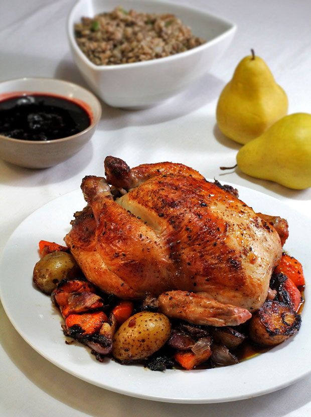 Thanksgiving Roast Chicken with Pork and Farro Stuffing, Vegetables, and Dried Cranberry Sauce‏