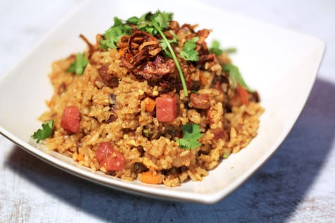 Thai-Style Curry Fried Rice with Crispy Shallots‏