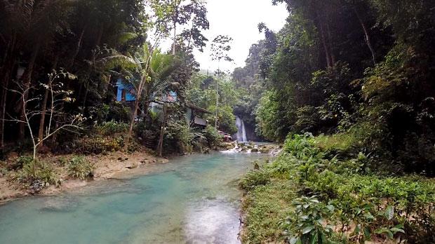Getting a Massage at Kawasan Falls, Badian, Cebu, Philippines