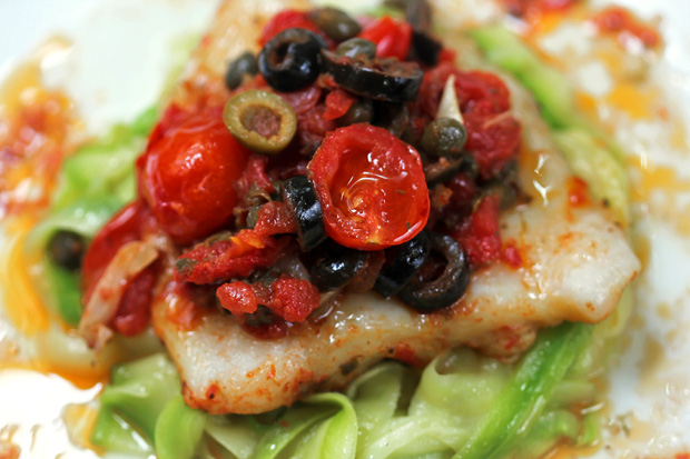 Baked Fish Puttanesca with Zucchini Noodles