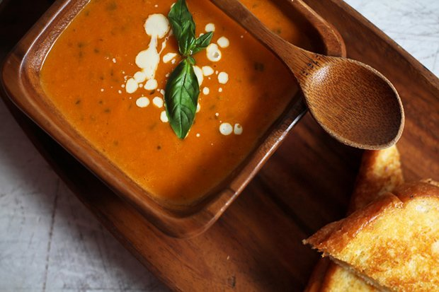 Homemade Tomato Soup with Grilled Cheese Sandwich