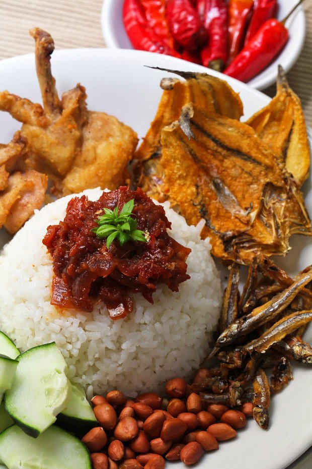 Nasi Lemak (Malaysian Coconut Milk Rice with Anchovies Sambal)