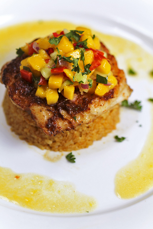 Pan-seared Cream Dory With Mango Salsa over Curried Rice