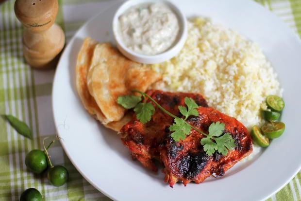 Tandoori-Style Oven-Baked Chicken with Cucumber Raita