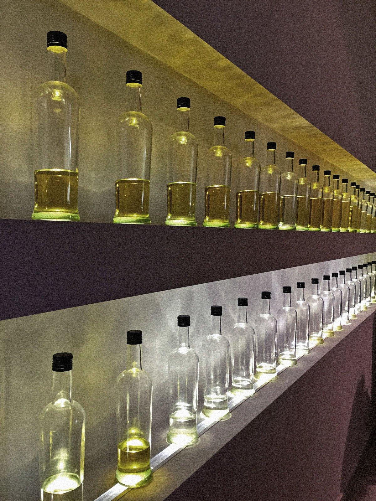 Decorative olive oil in jars