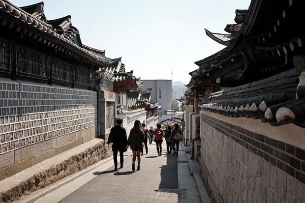 Walk through Old Seoul at Bukchon Hanok Village, Seoul, South Korea