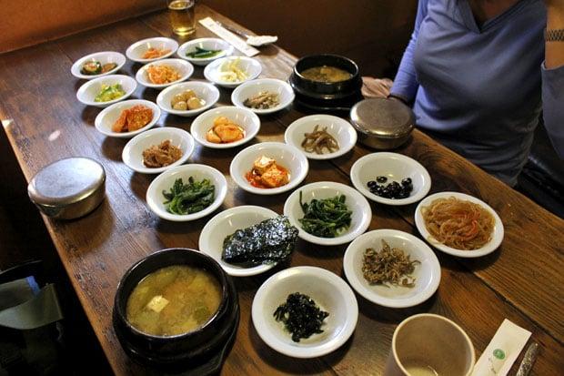 An Assortment of Curiosities and Banchan at Sigol Bapsang, Seoul, South Korea