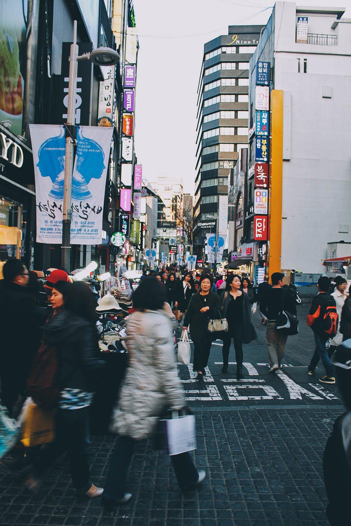 Insadong, Myeongdong, and Hongdae in Seoul, South Korea