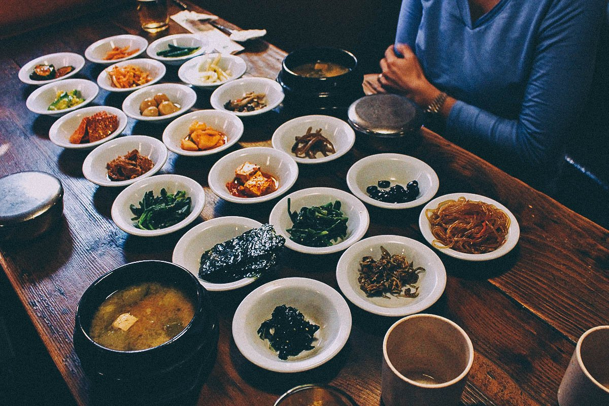 An Assortment of Curiosities and Banchan at Sigol Bapsang, Seoul, South Korea