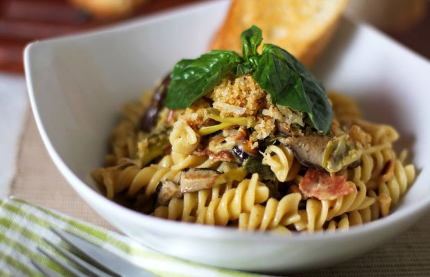 Fusilli with Caramelized Leeks/Shiitake Cream Sauce‏