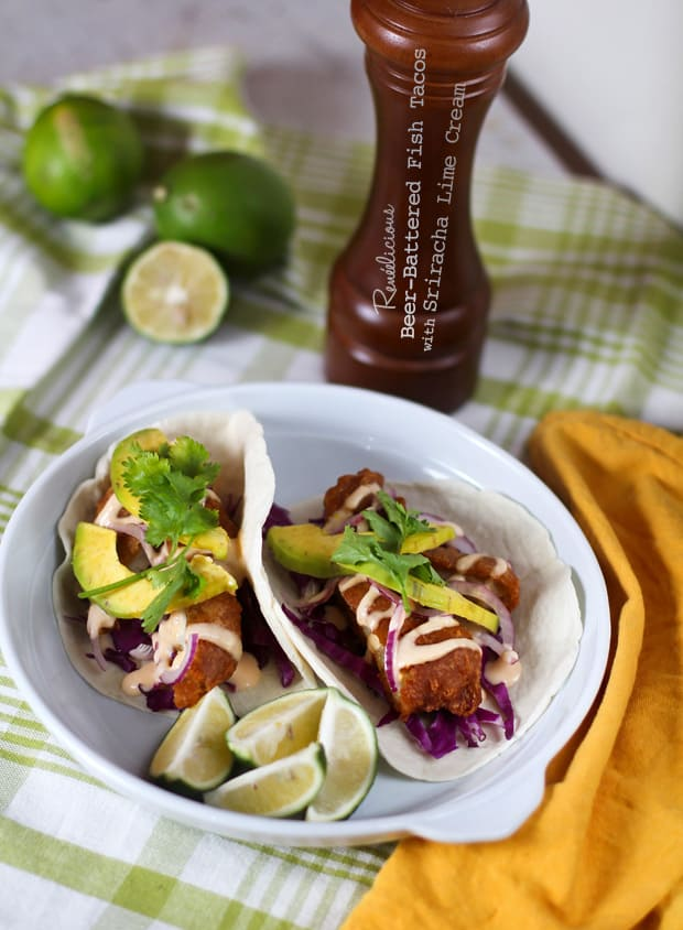 Beer-Battered Fish Tacos with Avocados and Sriracha Lime Cream
