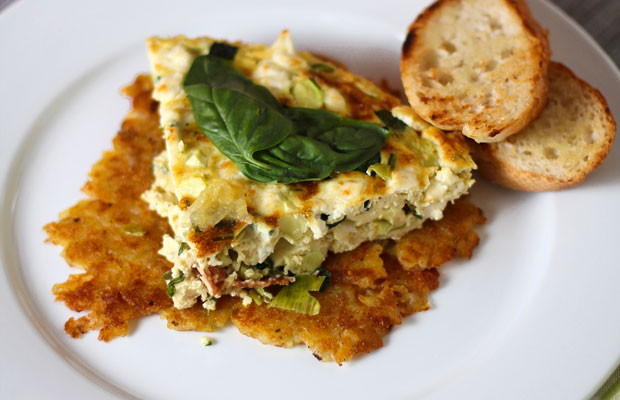 Zucchini, Leeks and Feta Frittata with Mario Batali's Spicy Pesto Pantesco over Rösti‏