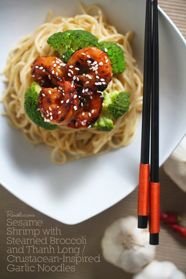 Sesame Shrimp with Steamed Broccoli and Thanh Long / Crustacean-Inspired Garlic Noodles