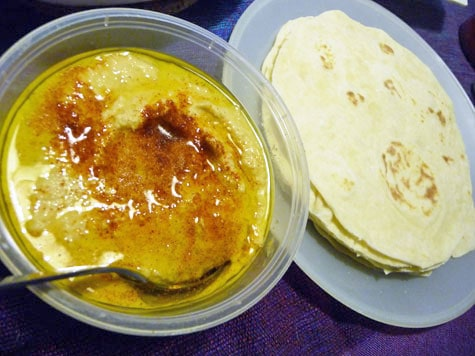 Homemade Hummus and Flour Tortillas