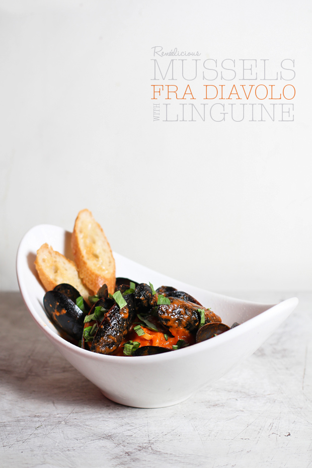 Mussels Fra Diavolo with Linguine‏