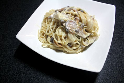 Spaghetti with Shiitake, Cream and Truffle Oil‏