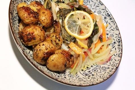 Fish En Papillote with Roasted Lemon Potatoes