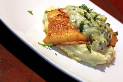Pan Seared Cream Dory with Creamed Leeks and Truffled Mashed Potatoes