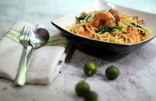 Pasta with Shrimp, Bacon and Spinach in a Gorgonzola Cream Sauce