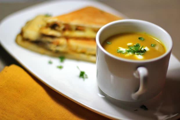 Curried Roasted Squash Soup w/ Caramelized Onions, Shiitake & Hummus Panini