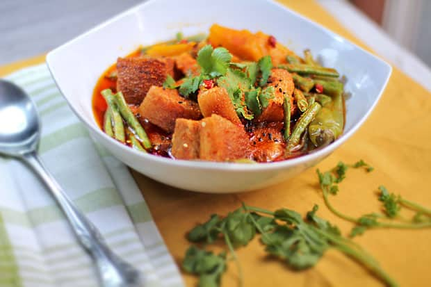 Dhungar-Smoked Pork Belly Curry with Squash and String Beans‏