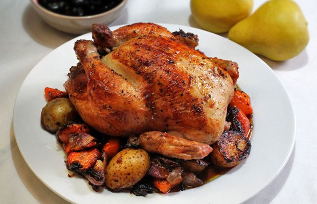 Thanksgiving Roast Chicken and Vegetables, with Pork and Farro Stuffing and Dried Cranberry Sauce‏