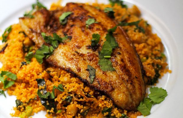 Spicy Fish with Caramelized Onion Couscous