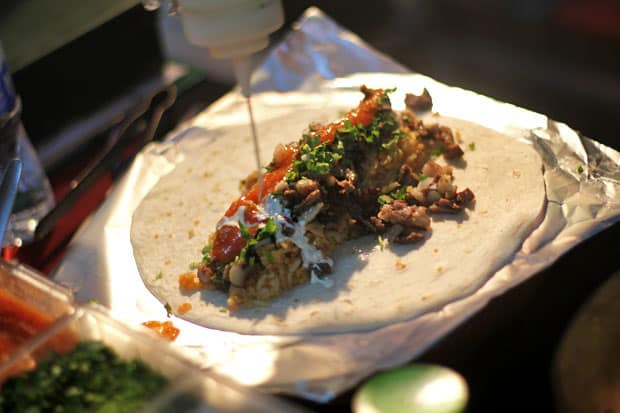 Lengua Burrito at Olvera's Authentic Mexican Grill, Midnight Mercato