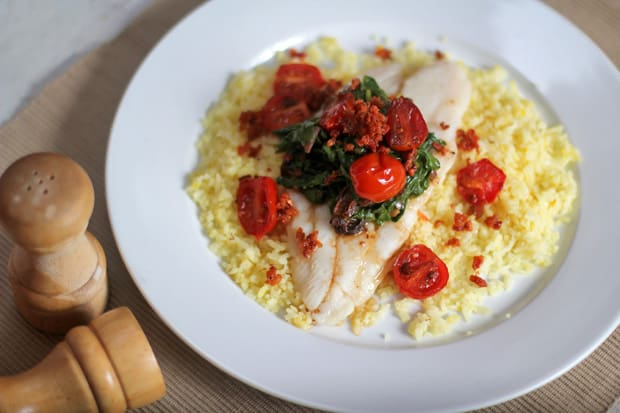Steamed Fish with Sauteed Spinach, Longganiza Bits, and Cherry Tomatoes over Saffron Pilaf